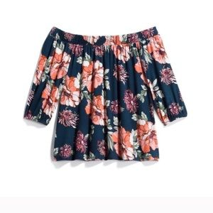 Loveappella Castania Floral Off the Shoulder Top